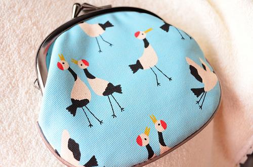 京都 がま口財布 「べる れがあろ」水色と鶴の模様が可愛い!